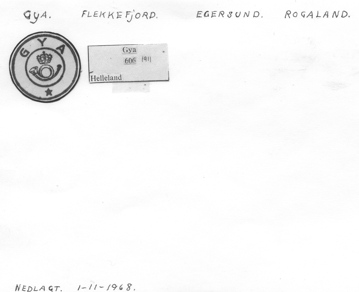 Stempelkatalog Gya, Flekkefjord, Egersund, Rogaland
