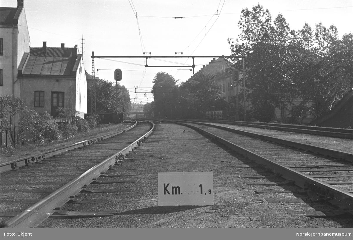 Hovedbanen : linjeføring km 0,9