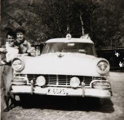 """Den  """"nye"""" sykebilen i Mandal ca 1955-60 kjørt av blandt and"""