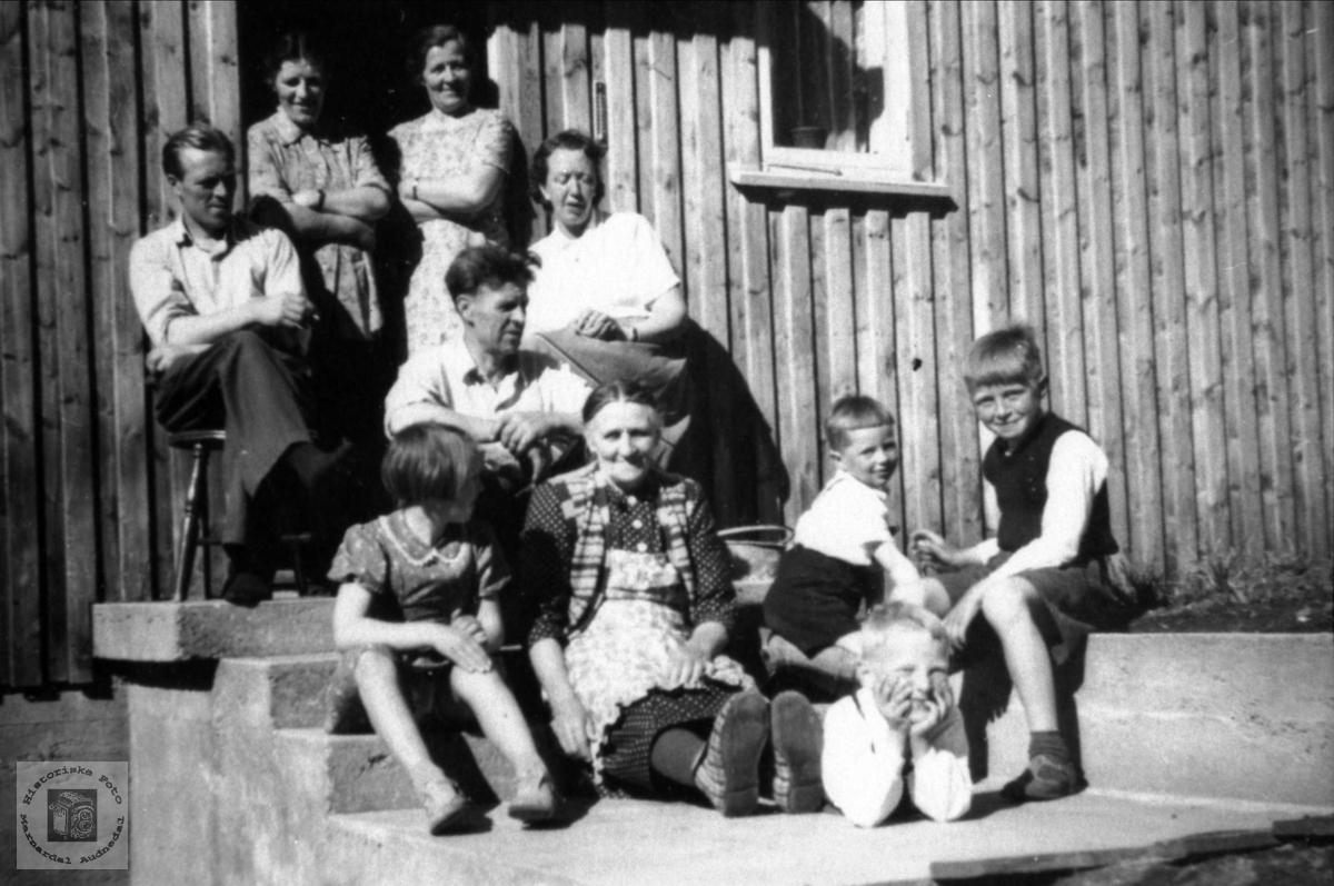 Folk fra Ugland og Hallingsgård på trappa, Laudal.