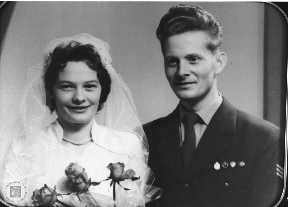 Bryllupsbilde Anne Oddbjørg og Freddy Finsådal, Øyslebø.