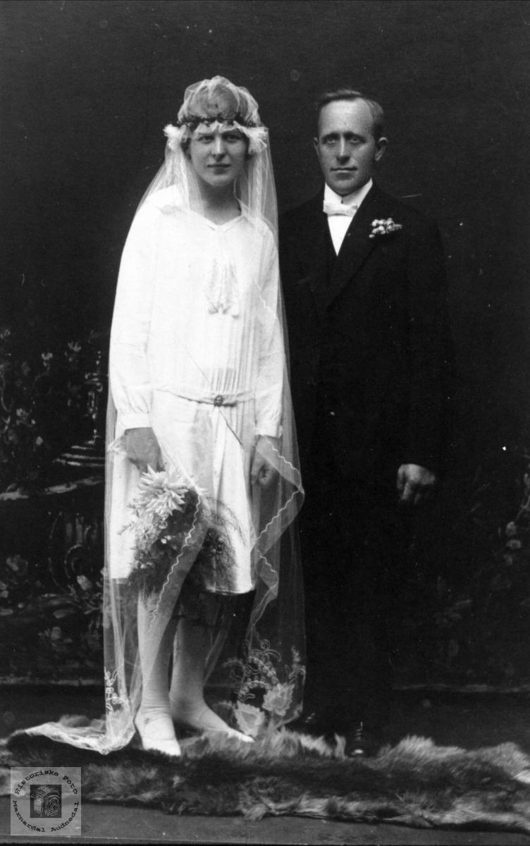 Brudebilde Tomine og Torleif Tjomsland
