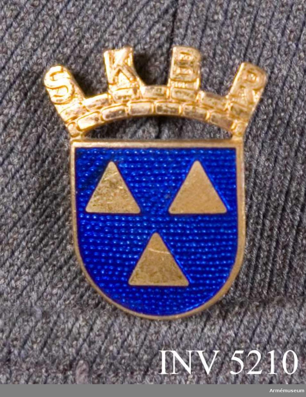 Brosch, SKBR. 1950. Guld. Höjd: 30 mm.Av förgyllt guld och blå emalj. Bäres på jackans vänstra strax  ovan ficklocket.