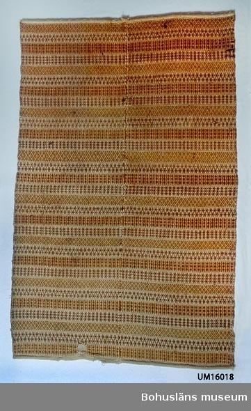 """Handvävt täcke gjort i två våder, ihopsytt på mitten med längsgående söm. Med varp av lingarn och inslag av ullgarn. Mönstrat i bunden rosengång solvad på tre skaft.  Fyra olika mönsterbårder (en med H-mönster, en med spridda småmönster och två olika med staplar) upprepas över hela täcket. Mönsterbårderna finns i 6-7 cm breda ränder, varannan med ljust beige botten och varannan med mörkare beige botten, avgränsade med en heldragen linje i bruntonat rött. Alla mönsterbårder är vävda i rödtonat brunt (nötbrunt). Kortsidorna fållade. Längs ena kortsidan på baksidan påsydd kanal av glesvävt linnetyg, för upphängning. Tillverkningstid uppskattad till 1800-talets mitt. Förvärvstillst Slitet.  På baksidan påsydd etikett med texten: """"JUBILEUMSUTSTÄLLNINGEN I GÖTE BORG 1923 GRUPP: ALLMOGETEXTIL Katalog Nr 71 Inv.N:r: 7 (32) Ägare:.."""" På fatsnäst etikett står: """"Rosengångstäcke Bragdeväv Tillhör Gbgs o Bohusläns hemslöjdsförening fr (oläsligt) torp Kareby Inland sn"""" I inventarieförteckning från Hemslöjdsföreningen på 1930-talet står: """"32 Täcke fr Rogetorp Kareby"""". Det står dock inte om den är tillverkad eller endast insamlad där. Flera små hål. Mittsömmen har bitvis gått upp. En lagning (stoppning) nära ena kortsidan. Trasig längs långsidorna (varptrådar borta där). Fläckig.  Litteratur: Berg, Kerstin, Selma Johansson - väverska och hembygdsforskare i Södra Bohuslän, Skrifter utgivna av Bohusläns museum och Bohusläns hembygdsförbund Nr 41, Uddevalla 1991, sid. 178 f.  Nylén, Anna-Maja,  Hemslöjd, Lund, 1978, sid. 192-194.  För ytterligare uppgifter om givaren se UM016001"""