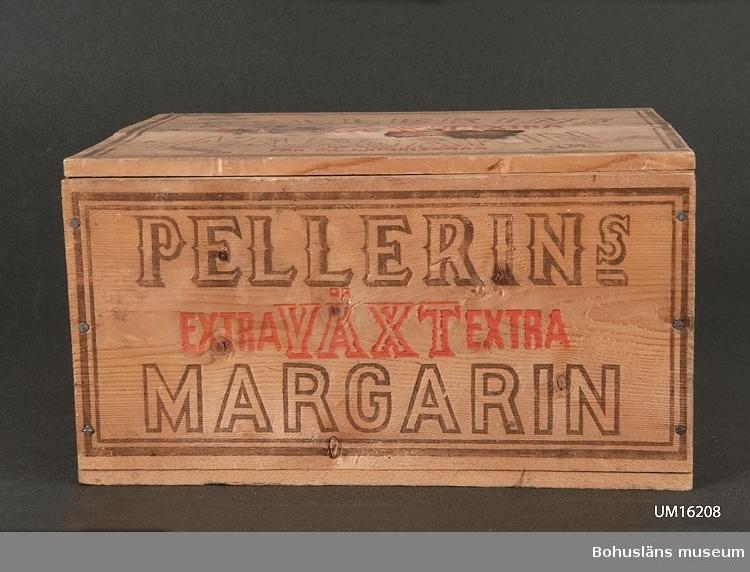 """594 Landskap BOHUSLÄN  Gjord av en margarinlåda: """"Pellerins extra växt extra margarin."""""""
