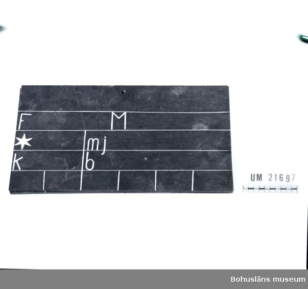 """594 Landskap BOHUSLÄN  Svartmålad rektangulär tavla med fält gjorda med vita ränder. Sex förkortningar i olika fält, vilka skall fyllas i med krita: """"F"""" = Fader, """"M"""" = Moder, """", """" = född, """"mj"""" = liter mjölk, """"k"""" = kalvat, """"b"""" = betäckt. En tavla med information om djuret placerades över varje ko i i ladugården.  Litteratur: Nordenborg, M.O., Lilla jordbruksboken, Stockholm 1946, sidan 187.  Omkatalogiserat 1996-01-23 GH.  UMFF 43:12."""