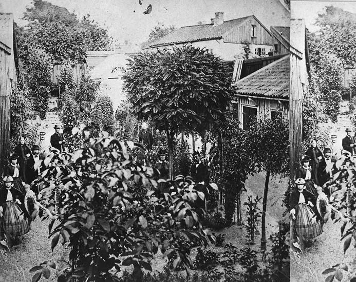 """""""Blomsterkroken"""", Johan Petter Kroks (1791 - 1868) trädgård, Uddevalla. Del av stereofoto."""
