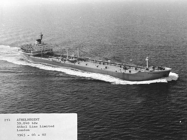 M/S Athel regent DWT. 59.040 Rederi Athel Line Ltd., London England Kölsträckning 64-05-25 Nr. 214 Leverans 65-04-02 Tankfartyg