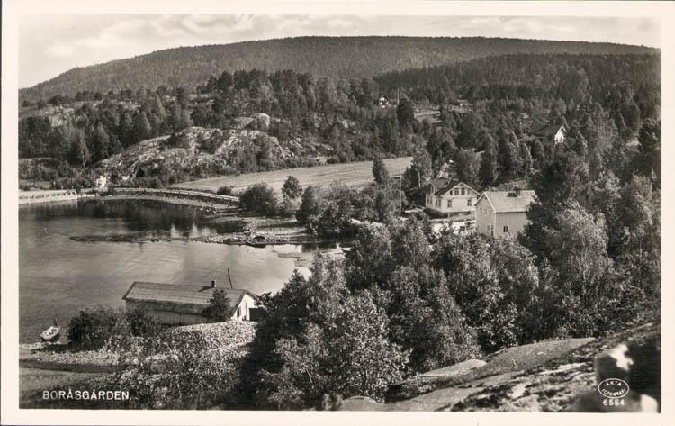 """Tryckt text på kortet: """"Boråsgården."""" Noterat på kortet: """"Boråsgården. Näsinge Sn. Vette (Norrviken) 22 Sept. 1955."""" """"Utsikt söder."""""""