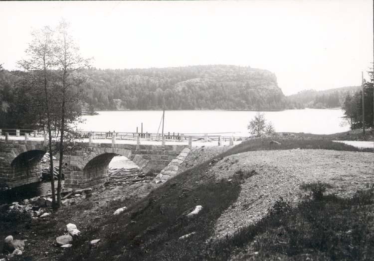"""Noterat på kortet: """"Vassbotten."""" """"Sjön v. Nära Munkedal."""" """"Foto (D90) Dan Samuelsson 1924. Köpt dec. 58 av dens."""""""
