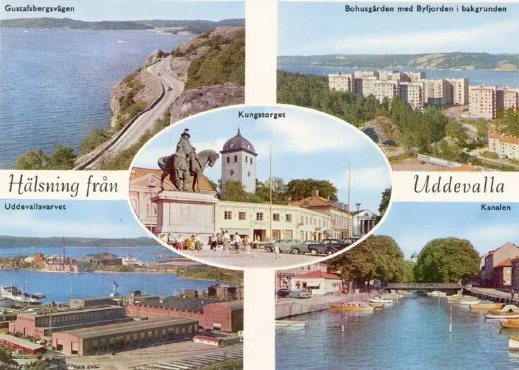 """Tryckt text på kortet: """"Hälsning från Uddevalla. """" """"Gustafsberg, Bohusgården med Byfjorden i bakgrunden, Uddevallavarvet, Kanalen, Kungstorget."""""""