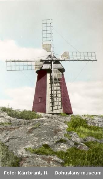 """Tryckt text på kortet: """"Väderkvarn Hönö Heden.""""  """"Handkolorerat foto nr. 8508."""""""