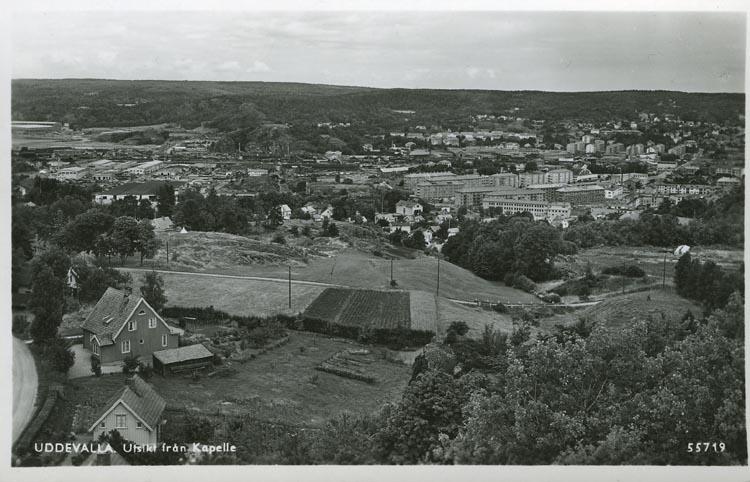 """Tryckt text på vykortets framsida: """"Uddevalla. utsikt från Kapelle."""" ::"""