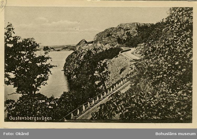 """Tryckt text på vykortets framsida: """"Gustafsbergsvägen."""""""