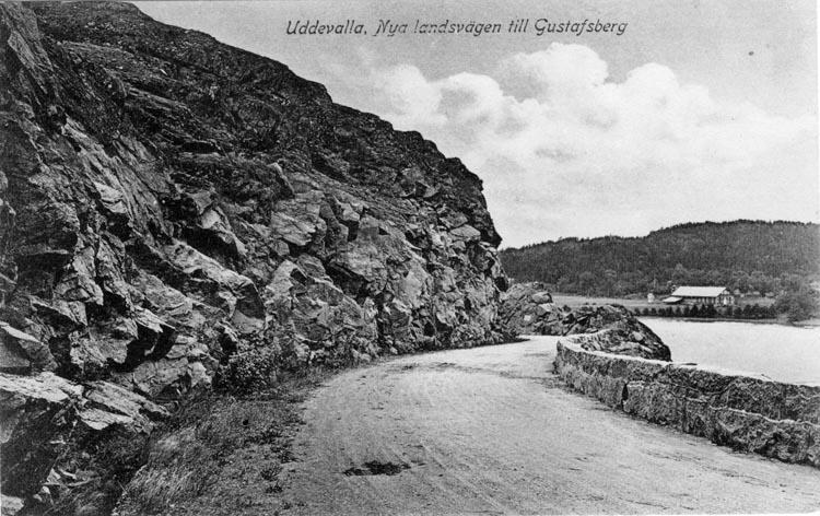 """Tryckt text på vykortets framsida: """"Uddevalla. Nya landsvägen till Gustafsberg."""""""