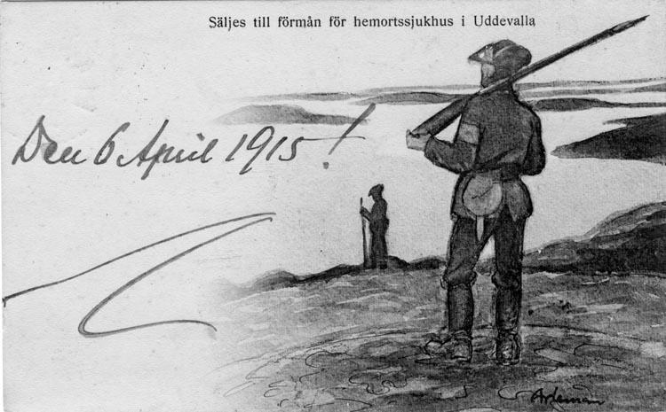 """Tryckt text på vykortets framsida: """"Säljes till förmån för hemortssjukhus i Uddevalla."""""""