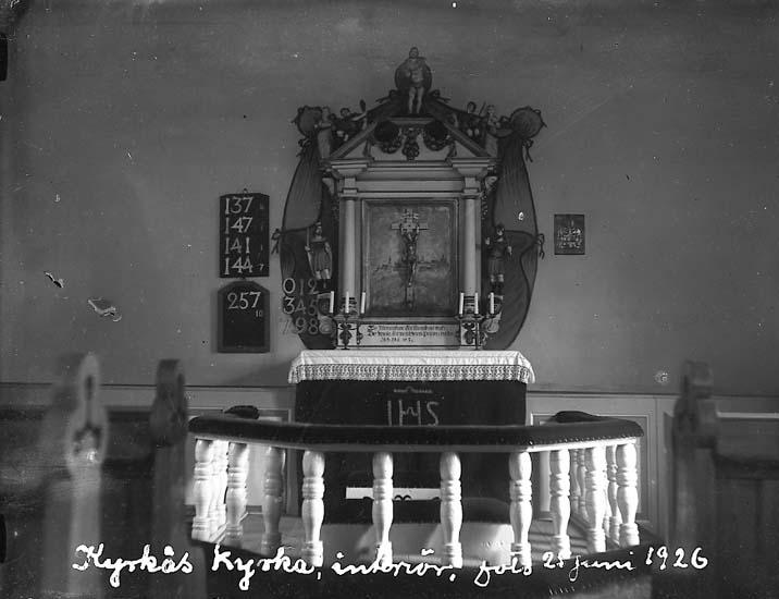 """Enligt text på fotot: """"Kyrkås kyrka, interiör, foto 25 juni 1926""""."""