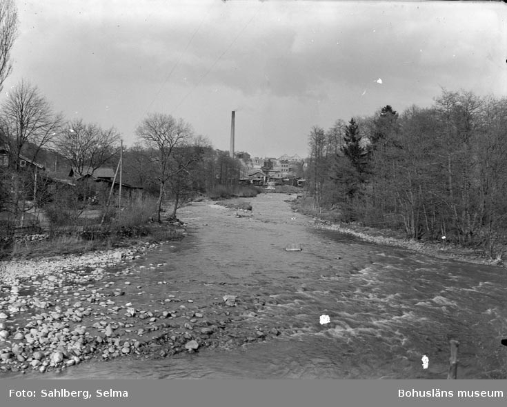 """Text som medföljde bilden: """"Hagafors till vänster, taget från Hedeholm mot bruket. Handlande Mattsson Hagafors. Bakgrunden Munkedals fabrik i bakgrunden."""""""