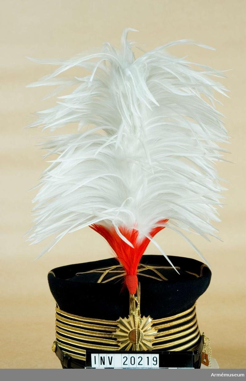 Ur paraduniform för överste vid Kejserliga Japanska Arméns generalstab. Består av syrtut med axelklaffar, långbyxor, uniformsmössa med plym, ägiljett och paradskärp. 1880, Buren 1930-talet.