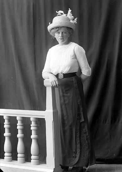 """Enligt fotografens journal nr 2 1909-1915: """"Hermansson, Jenny, ad. Fru Landb:g""""."""