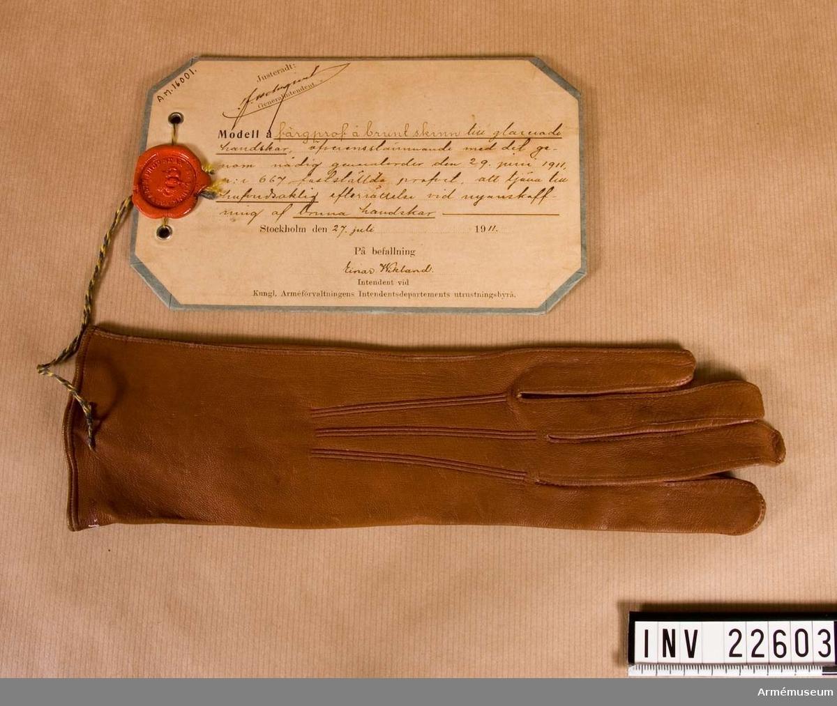 Grupp C I. Brunt skinn, vänsterhandske till glacerade handskar, att tjäna till huvudsaklig efterrättelse vid anskaffning av bruna handskar. Färgprov m/1911, handskar, Livreg:s grenadjärer