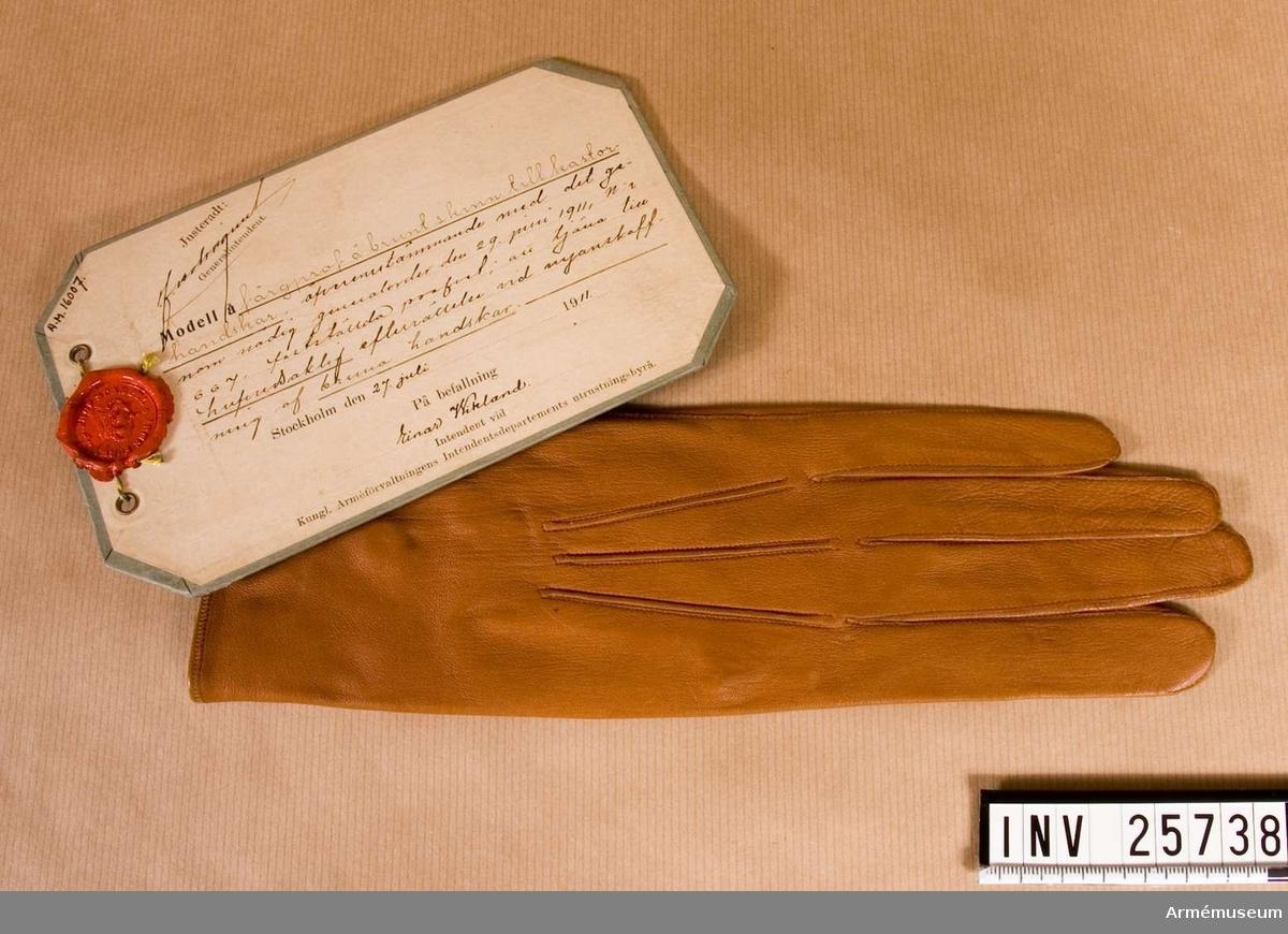 Grupp C I. Vänsterhandske till glacerade handskar att tjäna till huvudsaklig efterrättelse vid anskaffning av bruna handskar.