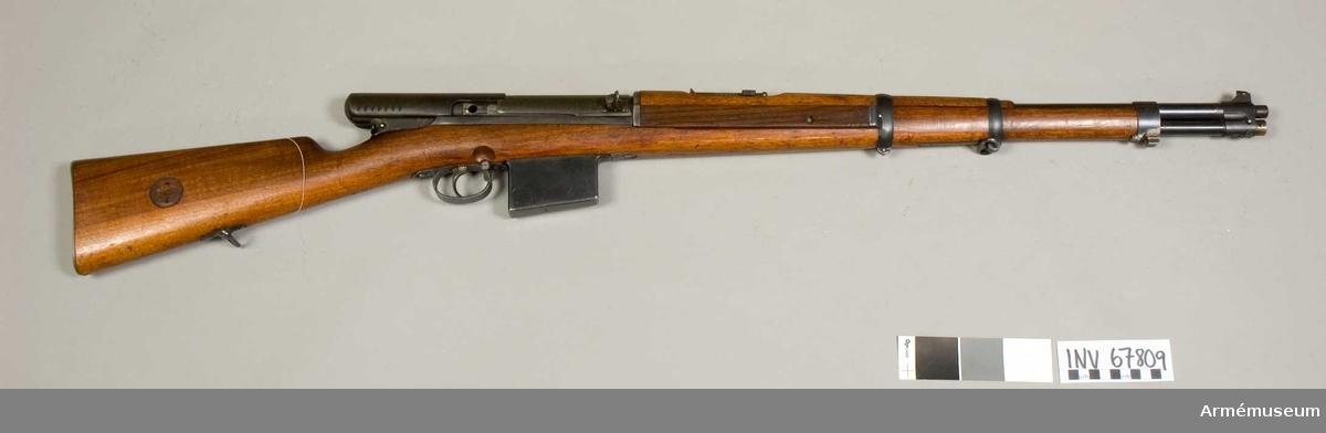 Grupp E IV e. Halvautomatisktgevär fm/1941. Wallberg II. Kaliber 6,5 mm.  Wallberg projekt nr 2 1940.
