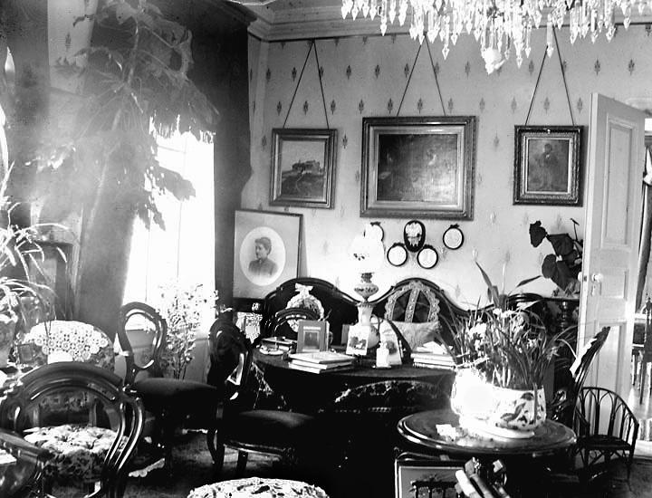 """Enligt fotografens noteringar: """"Salongen."""" Plats: Kasen Datum: 7 Februari 1895 Tid: Kl 12 m. Ljus: Solsken Bländare: No 4 Objektiv: Svenska Express Exponering: 45 Sekunder Framkallning: Hydrochion, Eikonogen"""