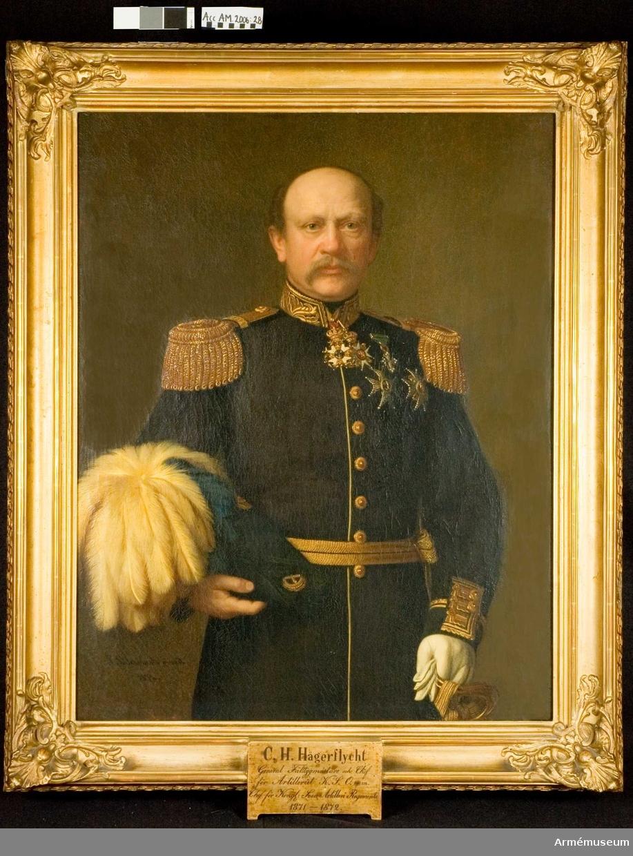 Porträtt föreställande C H Hägerflyckt, regementschef A1 1871-1872.