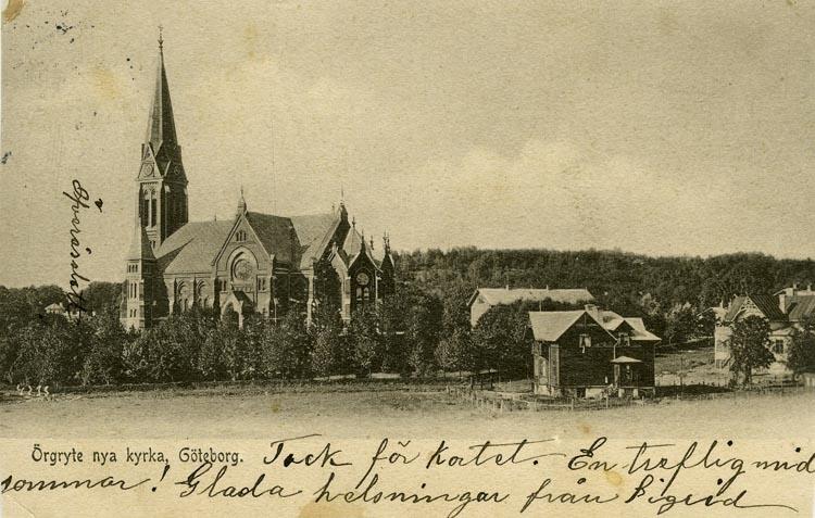 Notering på kortet: Göteborg. Örgryte nya kyrkan.