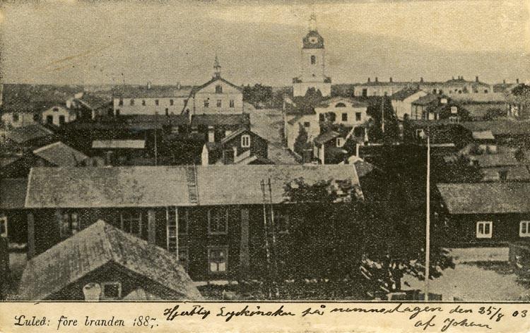 Notering på kortet: Luleå före branden 1887.