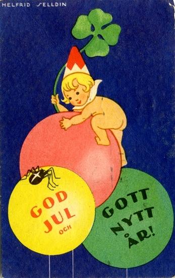 """Kort: """"God Jul och Gott Nytt År!"""". Barn som klättrar på ballonger."""