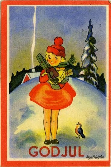 """Kort: """"God Jul"""". Flicka med famnen full av julklappar."""