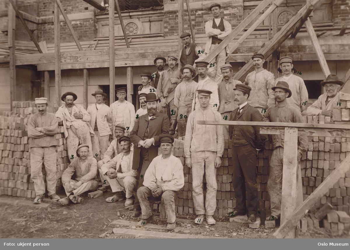 gruppe, menn, bygningsarbeidere, murere, murstein, Nasjonalgalleriets sydfløy