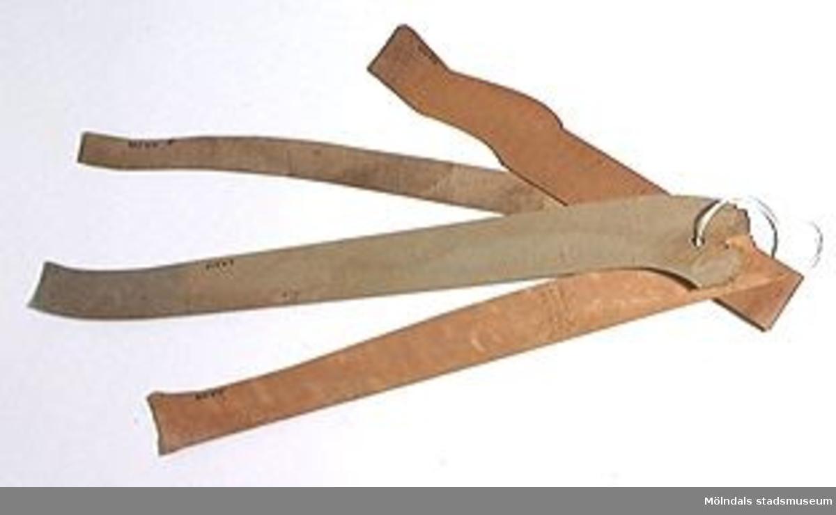 Möbelmall av trä, så kallad radiemall, eventuellt för ben. En av åtta mallar (med Mölndals stadsmuseums föremålsnummer 00429-00436), ihopsatta med snöre. Litteratur: Red. Särnstedt, Bo: Lindome Västsvenskt möbelsnickeri under 300 år, Stockholm 1977. Utställningskatalog från Liljevalchs Konsthall 1977-06-30-1977-09-11. Se sid 22-23 för historik kring fam. Thorsson.Mölndals Museum: Lindomemöbler, Länstryckeriet Göteborg 1994. Utställningskatalog innehållande kapitel rörande familjen Thorssons verksamhet.
