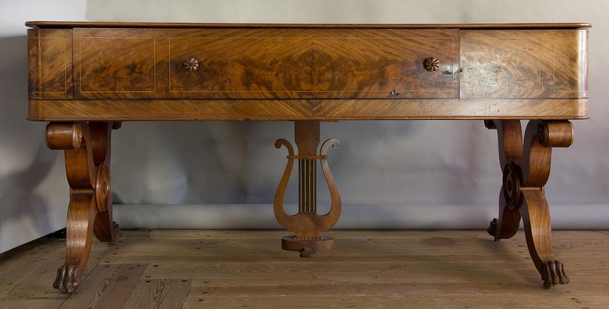 Musikinstrument tillverkat i furu, lövträ och mahogny. Klaviatur med tangenter av svärtat trä och elefenben. Vid sidan om tangentraden finns svarvade ljushållare av mahogny. Instrumentet har ett uppfällbart lock med monterbart notställ. Själva instrumentlådan vilar på på två krysslagda ben som är dekorerade nedtill med skulpterade lejontassar. Mitt under instrumentlådan finns en fotpedal formad som en lyra.