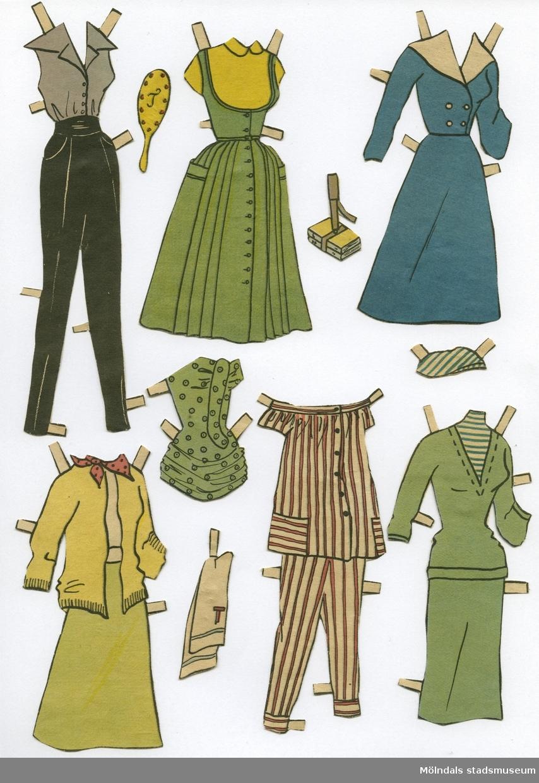 """Pappersdocka med kläder och tillbehör, urklippt ur tidning  på 1950-talet. Docka och kläder är märkta """"Tina"""" på baksidan - dockans namn. Dockan föreställer en ung kvinna med gult hår, iklädd axelbandslös baddräkt och skor. Garderoben består av åtta klänningar, tre set med kjol/tröja, tre set med byxa och tröja/blus, två baddräkter, kofta och pyjamas. Hon har också tillbehör, såsom handskar, väskor, paraply, spegel, handduk, samt böcker i bärrem. Allt förvaras i en gul kartong (L: 300, B: 190, H: 20 mm), med texten """"Art 330/42, Storlek 40/105, Färg vit"""" på kortsidan. I denna förvaras även ytterligare en pappersdocka (MM 04683)."""