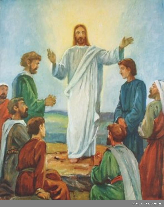 Kristendomskunskap.Jesu missionsbefallning och himmelsfärd. (Matt. 28:18-20,  Luk.50-53).Tryckt 1948 av Victor Pettersons bokbinderi AB, Stockholm.
