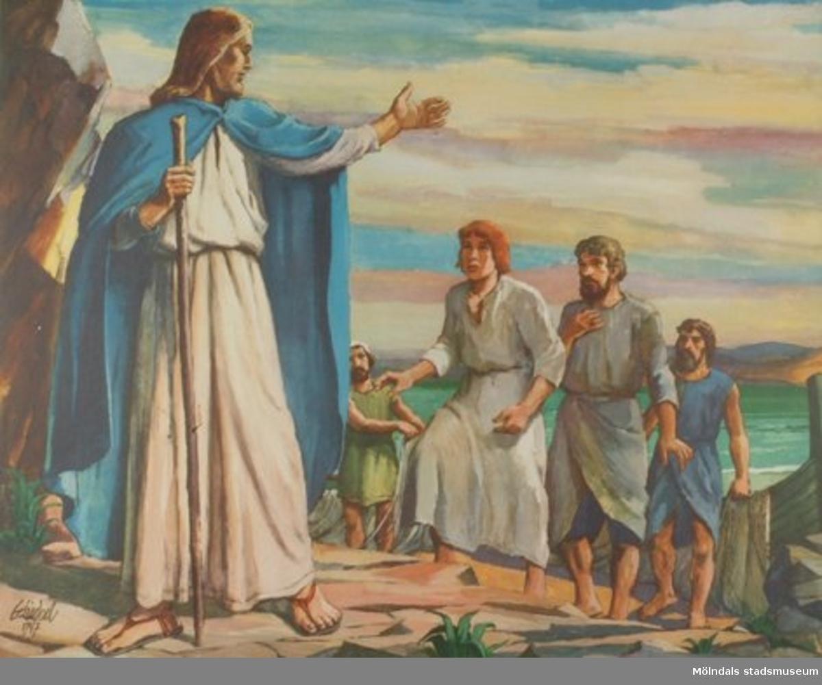 Kristendomskunskap.Jesus kallar lärjungar. (Matt. 4:18-22).Konstnär: G. Lindvall, 1947.Tryckt 1948 av Victor Pettersons bokbinderi AB, Stockholm.