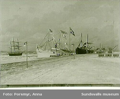 """Fotografi av oljemålning av J.A.Holmberg, """"Motiv från Sundsvalls hamn 21/4 1903""""."""