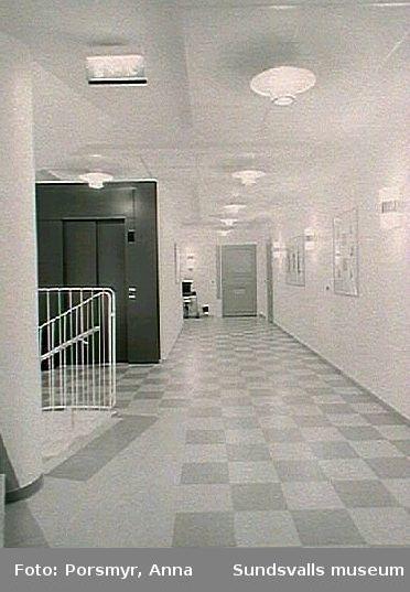 Utsmyckning i trapphus, Tomtegränds servicehus. Grafiska blad av Marianne Degerman.