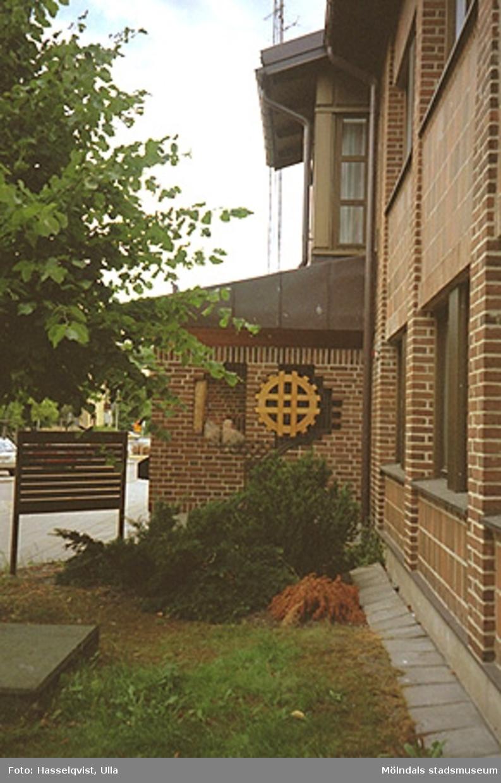 Nya stadshusdelens entré mot Knarrhögsgatan, augusti 1994.