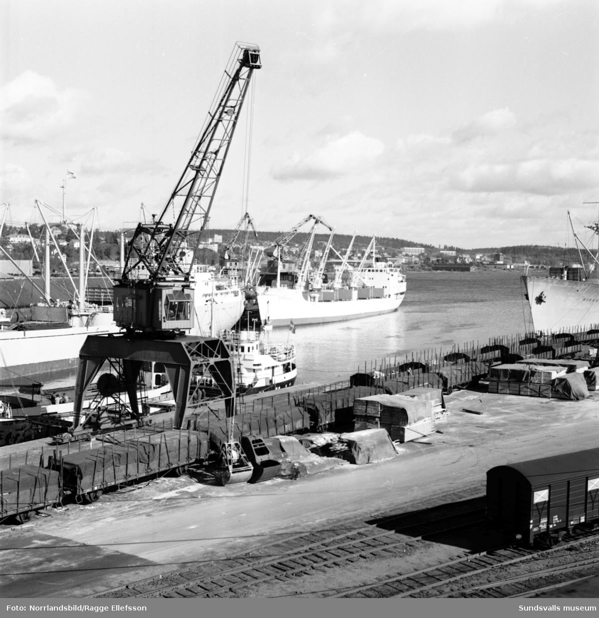 Bilder tagna från taket på KPS charkuterifabrik och bageri på Landsvägsallén. Hamnen med båtar (Fernwood) samt järnvägsstationen.