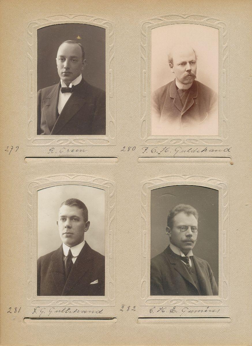 Porträtt av Frans Georg Gullstrand, extra postexpeditör vid Östra Distriktet 1909.