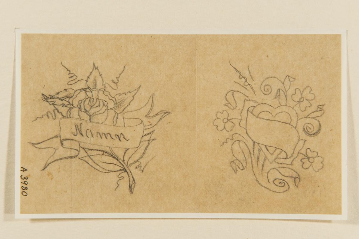 """Tatueringsförlaga. Två olika motiv. 1. I bakgrunden en ros. I förgrunden en banderoll med påskriften """"Namn"""". 2. Ett hjärta mot bakgrund av en blombukett, i förgrunden en banderoll utan påskrift."""
