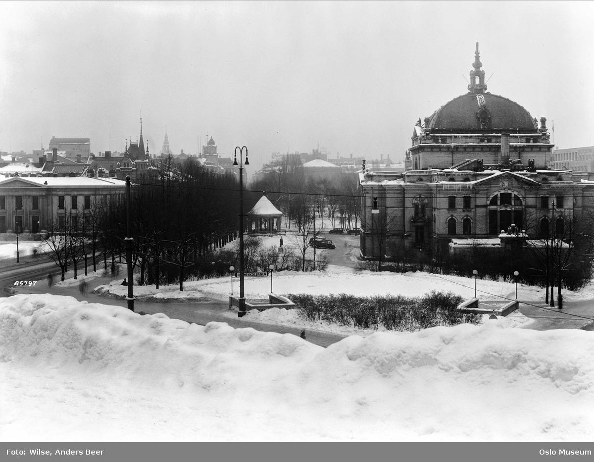park, snø, utsikt, Universitetet, musikkpaviljong, Nationaltheatret, nedgang, Nationaltheatret undergrunnsstasjon