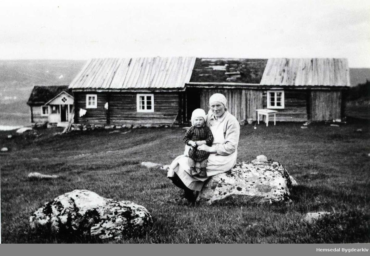 Flatovollen  på Nøreli i Gol i 1934. Kristi Ålstveit med Kristi