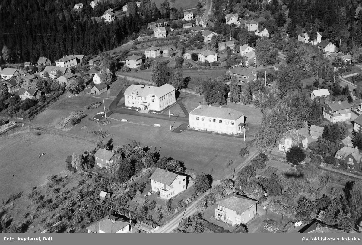 Bondelagets Folkehøgskole på Mysen i Eidsberg flyfoto 29. september 1952.