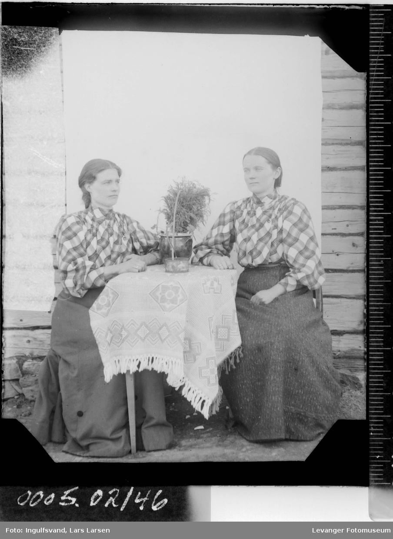 Portrett av to unge kvinner ved et bord.
