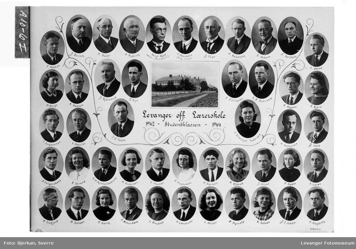 Levanger off. Lærerskole. Studentklassen, 1942-44.